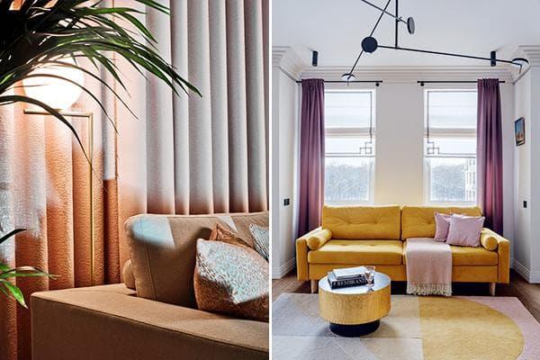Современные шторы в интерьере гостиных