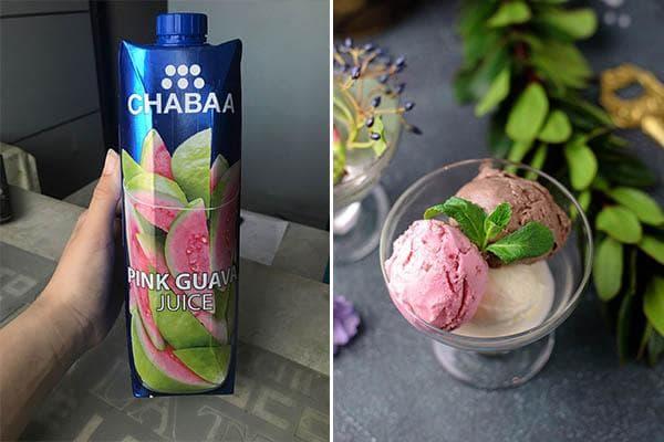 Сок и мороженное с гуавой