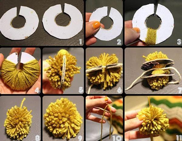 Изготовление помпона из пряжи