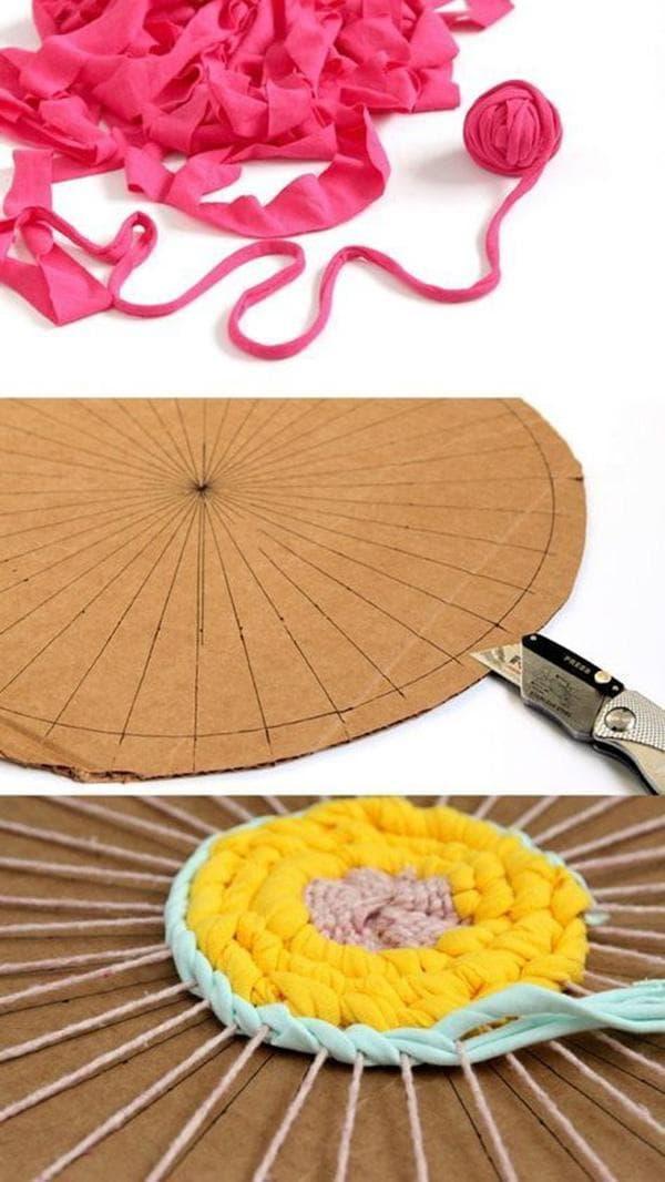 Картонная основа для плетения круглого коврика для ванной