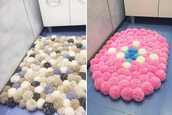 Коврики из помпонов для ванной