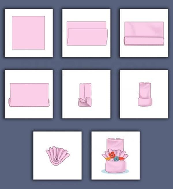 Схема складывания конверта из полотенца