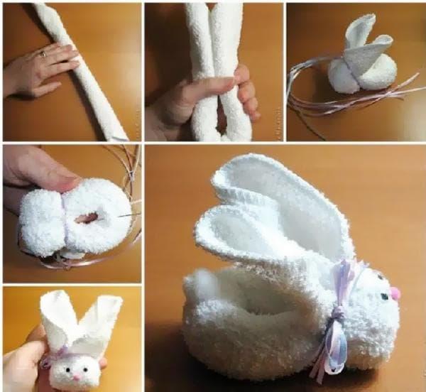 Складывание зайца из полотенца