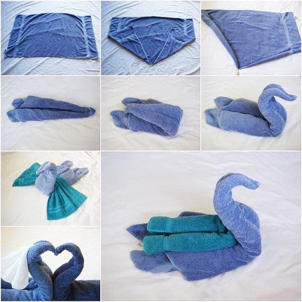 Схема складывания лебедя из полотенец