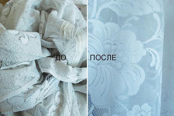Тюль до и после стирки
