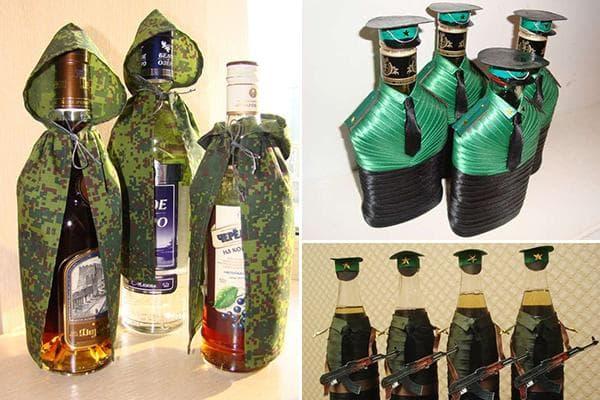 Бутылки с алкоголем, оформленные к 23 февраля