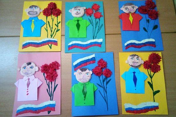 Открытки, сделанные детьми к Дню защитника Отечества
