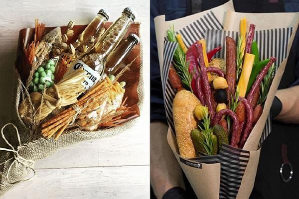 Букеты из продуктов в подарок мужчинам
