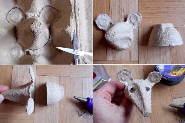 Мышка из яичного лотка