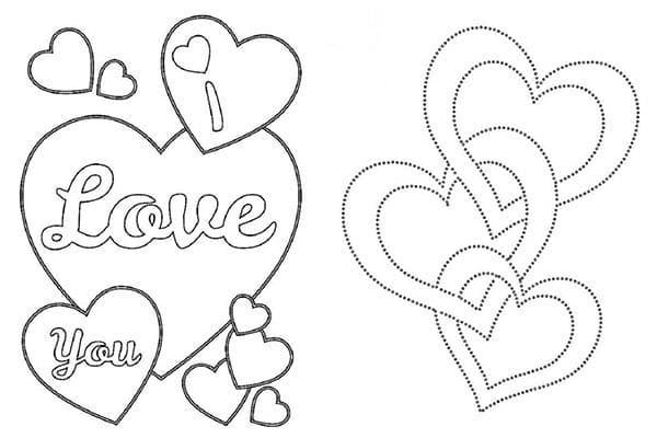 Трафареты с сердечками для росписи пряников к 14 февраля