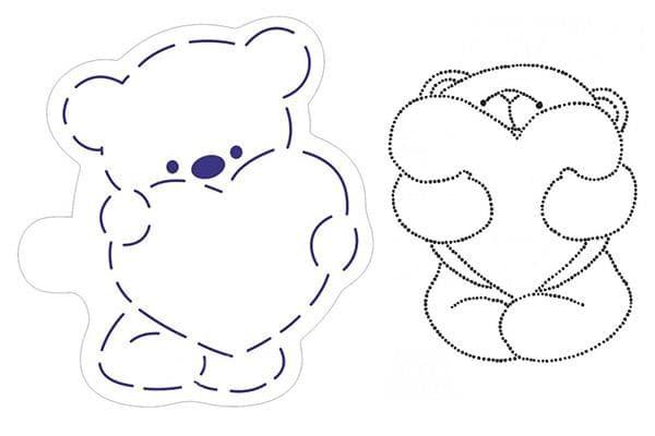 Трафареты с мишками для росписи пряников к 14 февраля