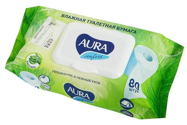 Влажная туалетная бумага Aura
