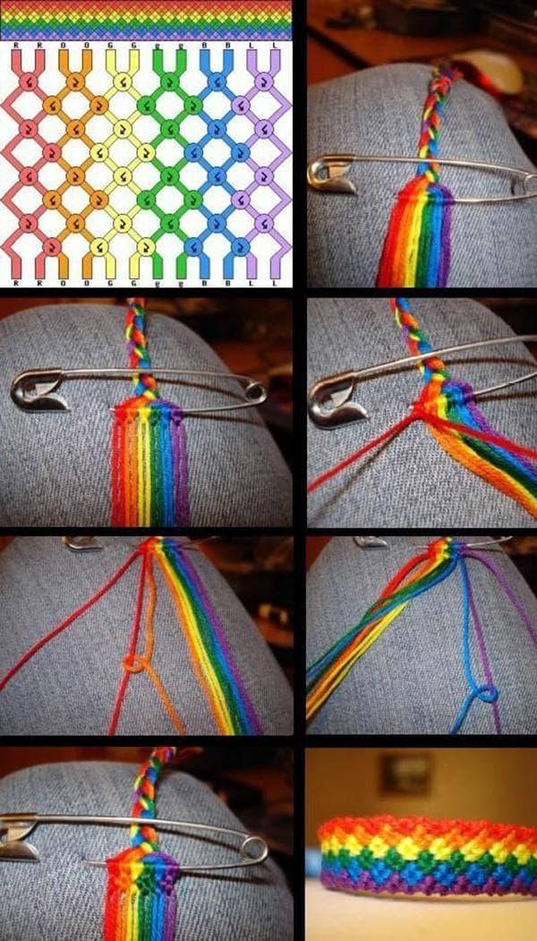 Плетение радужного браслета из ниток