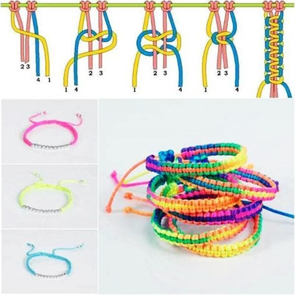 Схема плетения браслета-ремешка из ниток