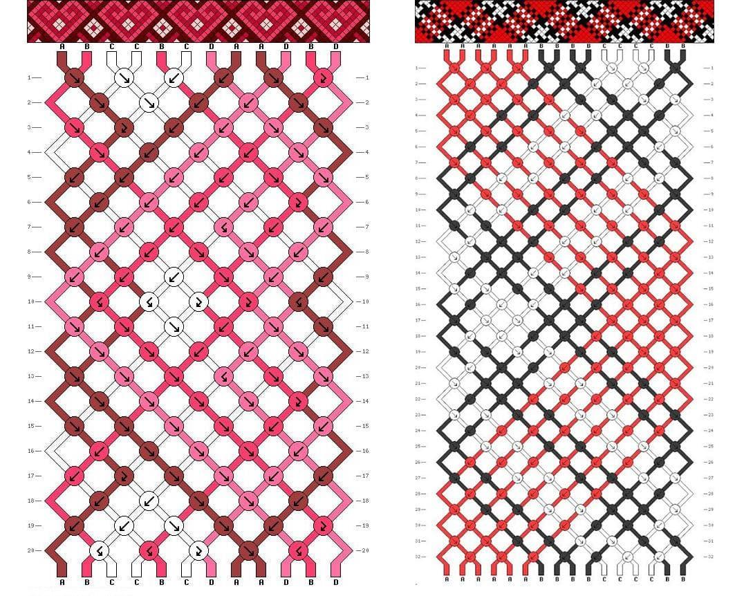 Схема плетения браслетов дружбы из ниток