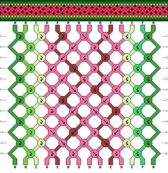 Схема плетения браслета дружбы из ниток