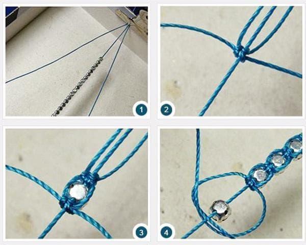 Схема плетения браслета из ниток и бусин