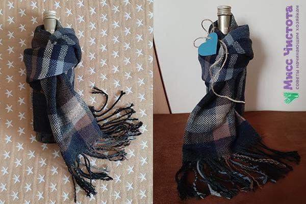 Вариант подарочного оформления бутылки и мужского шарфа
