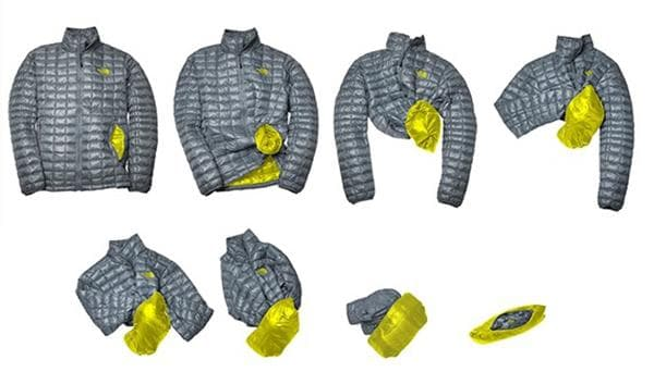 Складывание куртки через карман