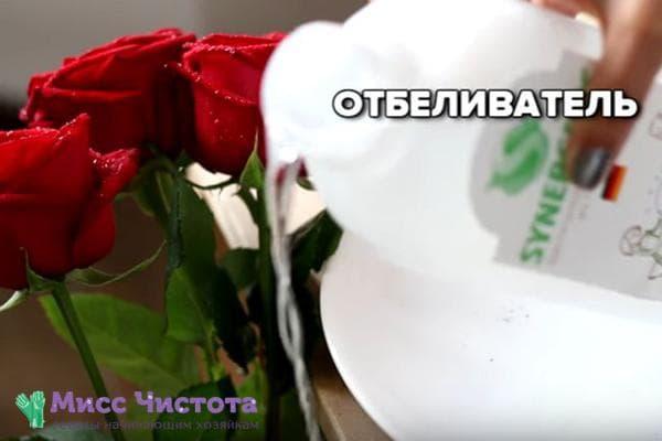 Отбеливатель для роз в вазе