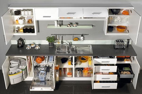 Хранение в шкафах кухни