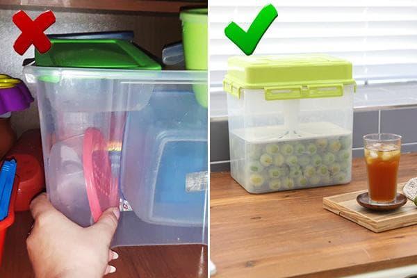 Пластиковые контейнеры для еды на кухне