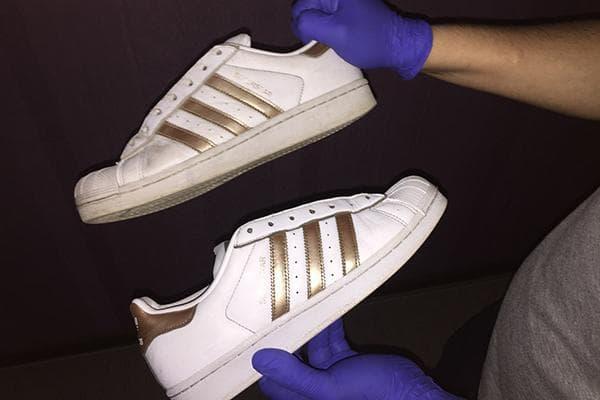 Белые кроссовки до и после чистки