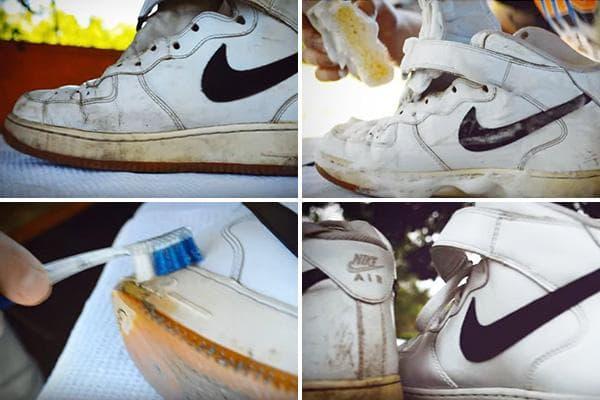 Этапы чистки белых кожаных кроссовок