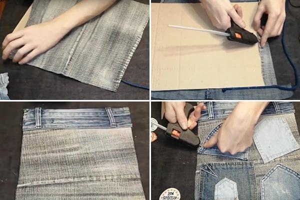 Изготовление подвесного органайзера из старых джинсов