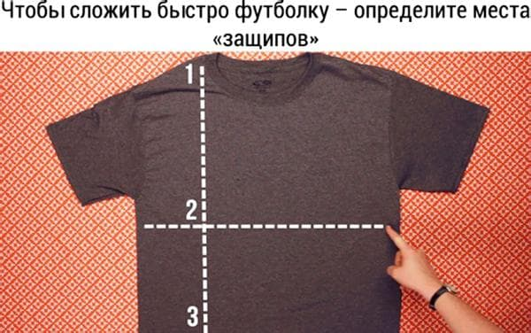 Схема складывания футболки за 2 секунды