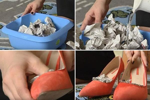 Растягивание замшевых туфель с помощью влажных газет