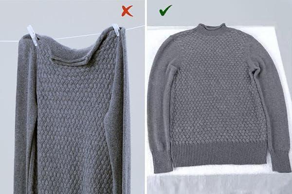 Правила сушки шерстяного свитера после стирки