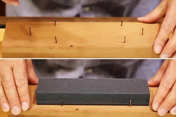 Фиксация точильного камня на доске