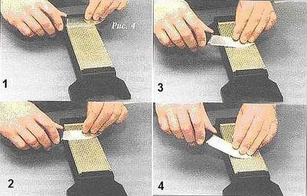 Движения при заточке ножа на точильном камне