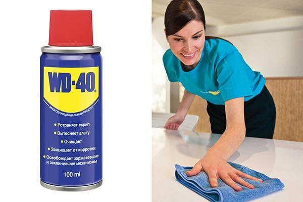 WD-40 от пыли на поверхности мебели