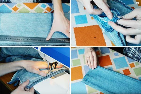 Женщина ушивает джинсы по бокам
