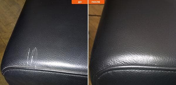 Диван до и после ремонта жидкой кожей