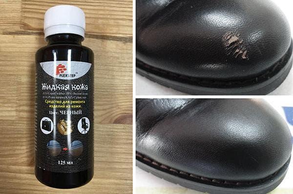 Реставрация сапога жидкой кожей