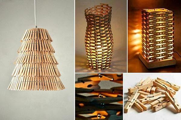 Люстра и настольные лампы из прищепок