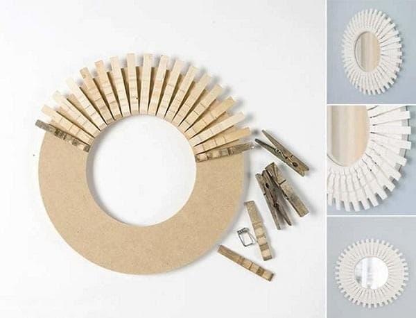 Изготовление круглой рамки из прищепок
