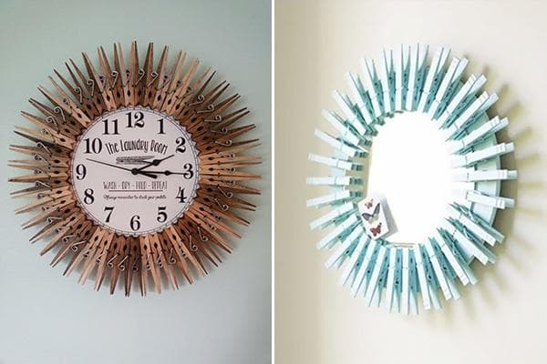 Круглые рамки из прищепок для настенных часов и зеркала