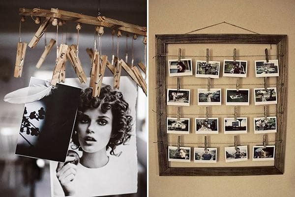 Использование прищепок для декора с фотографиями