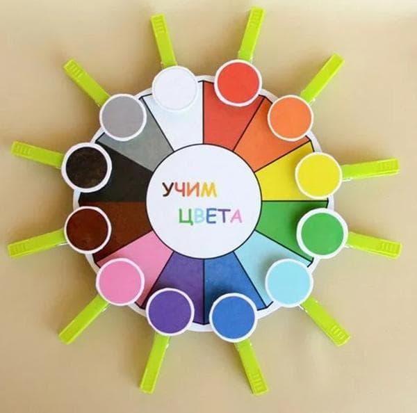 Игра «Учим цвета» из прищепок