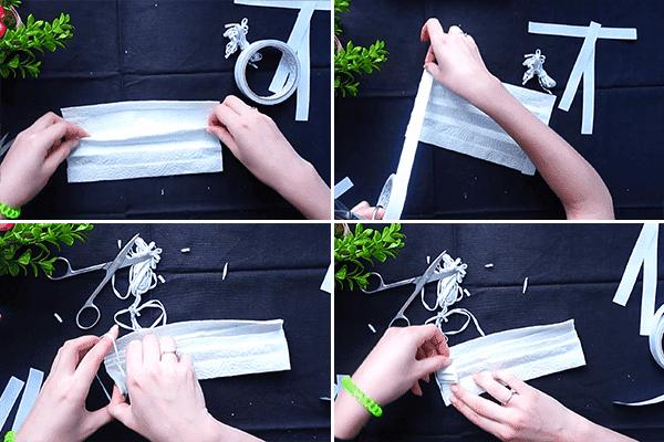 Изготовление маски из бумажных полотенец и двустороннего скотча