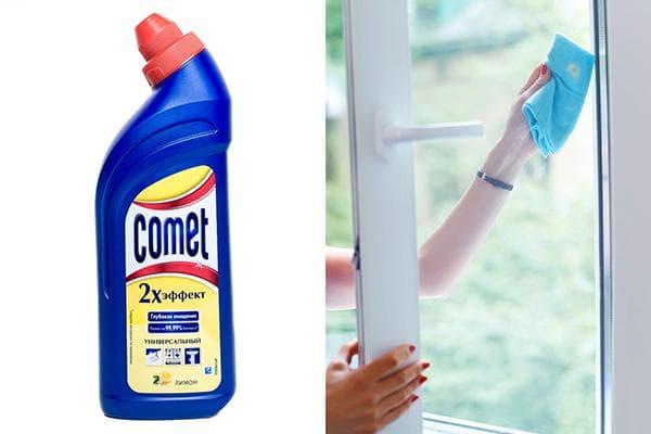 Comet для удаления цементных пятен с окна