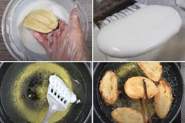Обжаривание бананов во фритюре