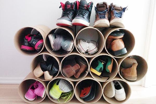 Органайзер для обуви из картонных труб
