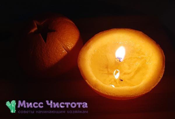 Свеча из апельсиновой кожуры