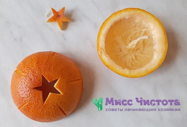 Детали подсвечника из кожуры апельсина