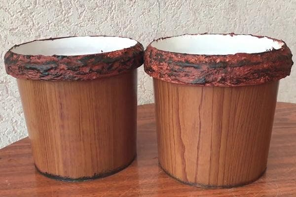 Цветочные горшки, сделанные из ведерок из-под майонеза